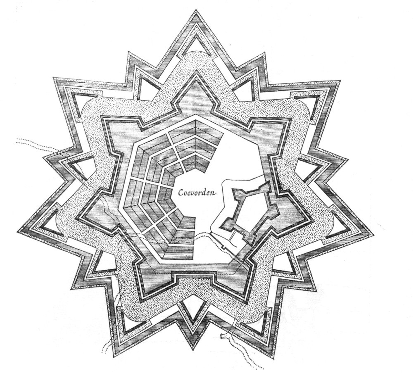 Fortification plan of Coevorden (The Netherlands), laid out in a radial pattern within polygonal fortifications and extensive outer earthworks as reconstructed in the early seventeenth century by Maurice of Nassau, Prince of Orange.