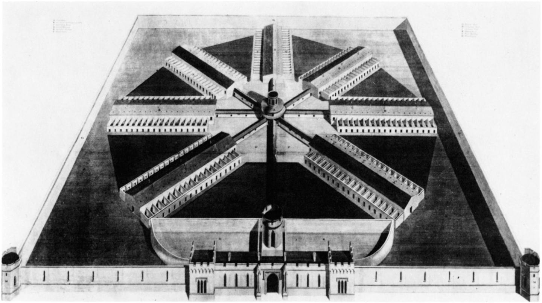 Bird's-eye view of the Eastern State Penitentiary, Philadelphia, designed by John Haviland (from A Description of Haviland's Designs for the New Penitentiary Now Erecting Near Philadelphia, Robert Desilver, Philadelphia, 1824)