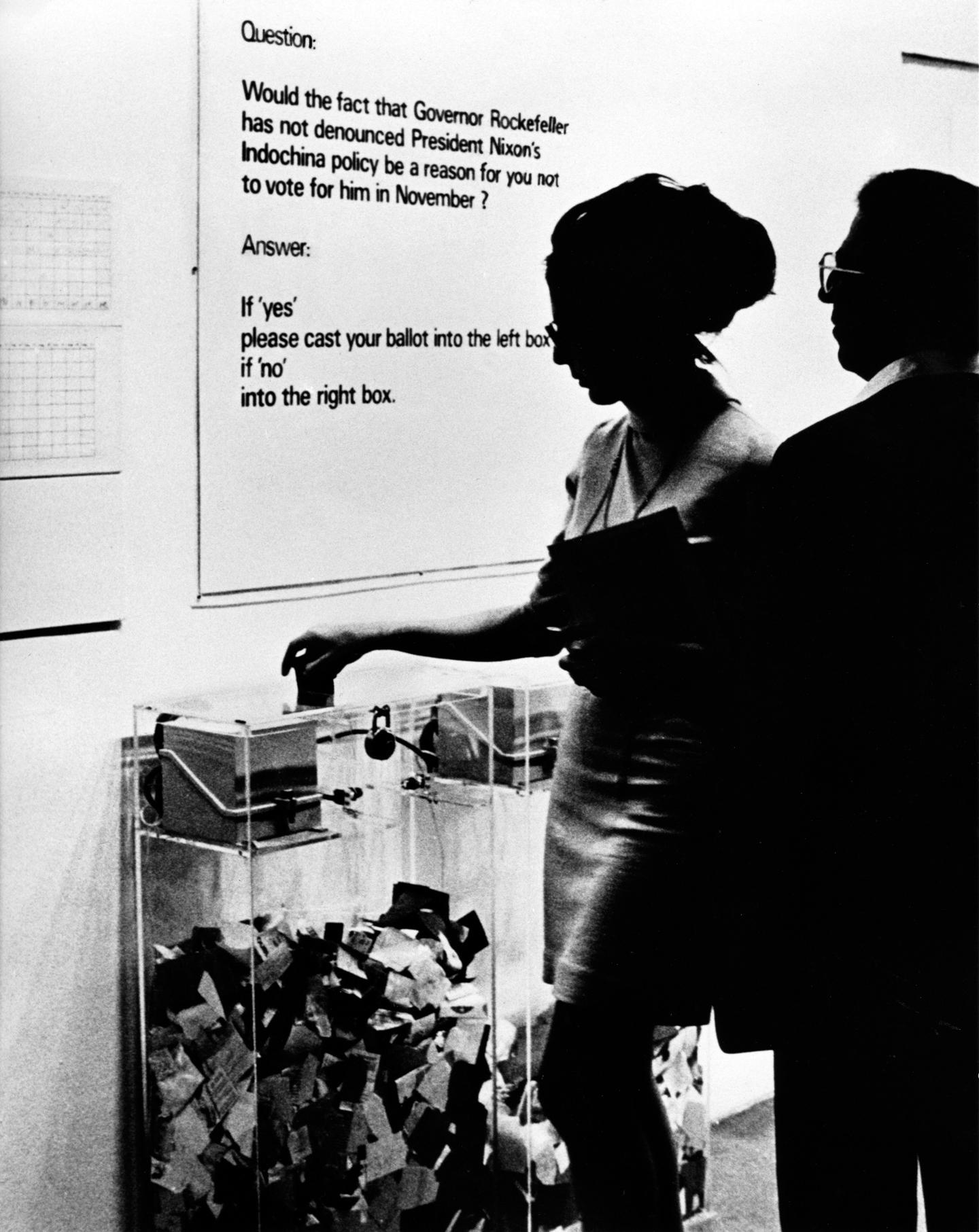 Hans Haacke, MoMA-Poll, 1970. © Hans Haacke / VG Bild-Kunst. Courtesy: Paula Cooper Gallery, New York