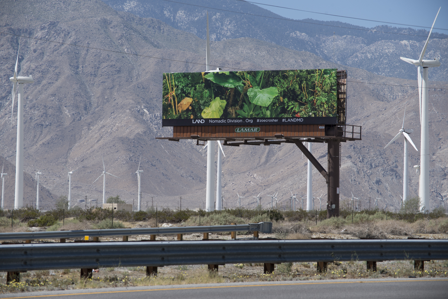 Zoe Crosher, The Manifest Destiny Billboard Project in Conjuction with LAND, Fourth Billboard to Be Seen Along Route 10, Heading West... (Where Highway 86 Intersects...), 2015. Courtesy: the artist. Photo: Chris Adler