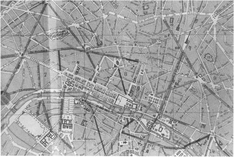 Plan of Second Empire Paris as annotated by Napoleon III, 1852-1870 (from Charles Merruau, Souvenirs de l'Hôtel de la Ville de Paris, 1848-1852, Paris, 1875).