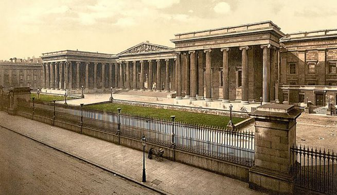 Postcard of the British Museum (hand coloured, undated, archival)