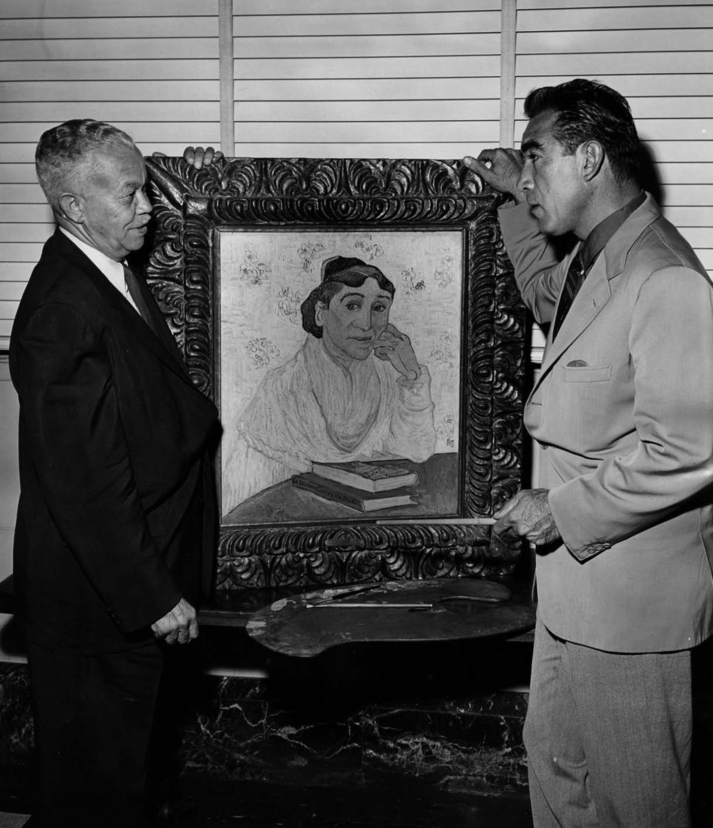 Paul Williams and Anthony Quinn at Los Angeles Municipal Art Gallery, Los Angeles, 1957