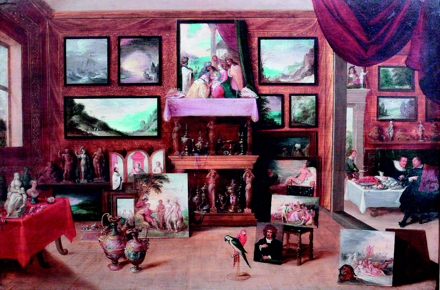 Painting depicting an early modern gallery of art and curiosities (Kunst und Wunderkammer), from the collection of the Reiss-Engelhorn Museum, Mannheim